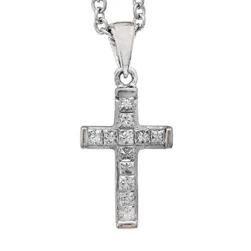 Estate Princess Cut Diamond Cross 14k White Gold
