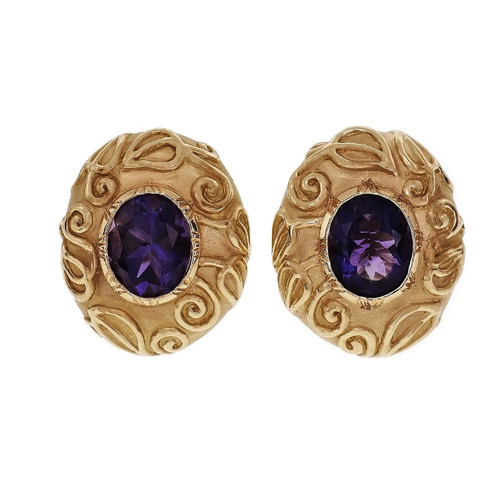Valentin Margo Amethyst Earrings 18k Yellow Gold Clip Post