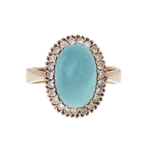 Victorian Persian Turquoise 1900 Diamond Ring 14k Rose Pink Gold GIA Certified