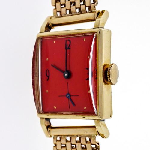 Retro 1940 Rectangular Watch 14k Mesh Band Refinished Orange Dial