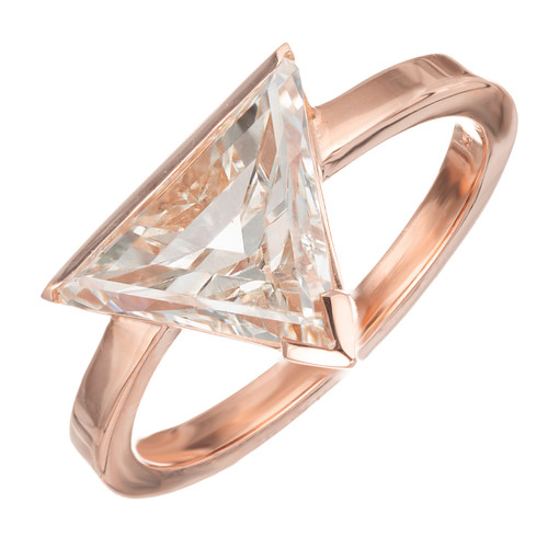 Peter Suchy Modern Triangle Diamond 18k Rose Gold Engagement ring