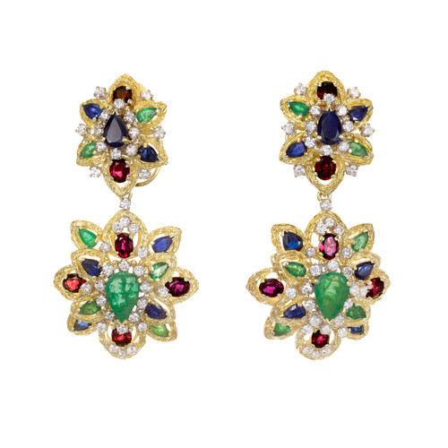 GIA Certifed 11.68 Carat Emeralds Sapphire Ruby Diamond Gold Dangle Earrings