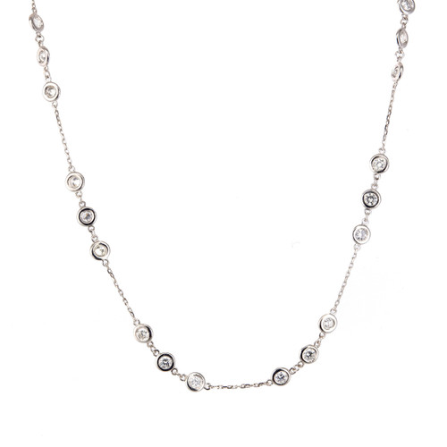 14K White Gold, Diamond Necklace
