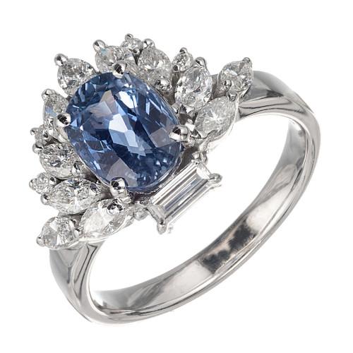 2.17 Carat Periwinkle Blue Sapphire Diamond Platinum Gia Certified Ring