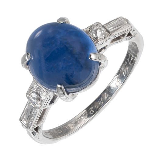4.55 Carat Burma Star Sapphire Diamond Platinum Gia Certified Engagement Ring