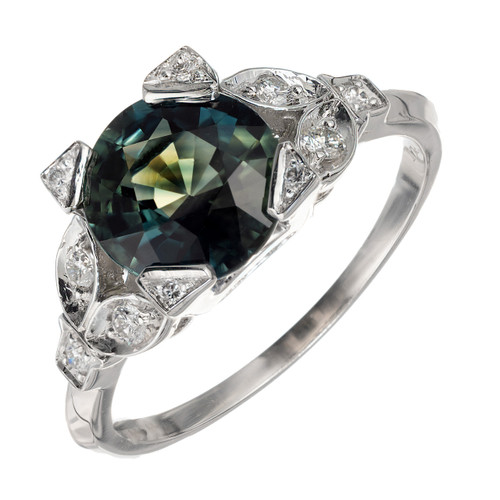 Peter Suchy Blue Green Natural Sapphire antique inspired engagement ring.