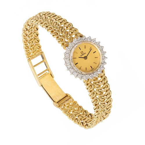 Omega Ladies .75 Carat Diamond Yellow Gold Wristwatch