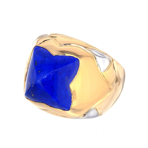 Bvlgari Pyramid Lapis Lazuli 18k Gold Cocktail Ring