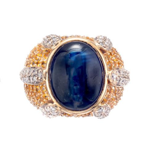 14.83 Carat Sapphire Diamond 14k Yellow Gold Cocktail Ring