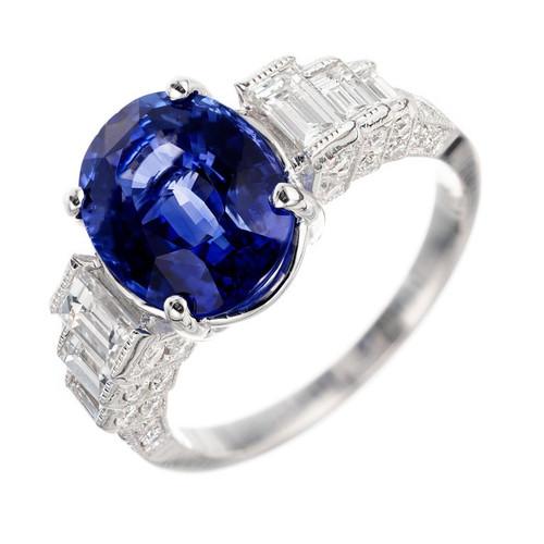 GIA Certified 4.83 Carat Sapphire Diamond White Gold Engagement Ring