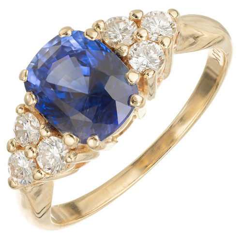 Peter Suchy GIA Certified 2.23 Carat Sapphire Diamond Gold Engagement Ring