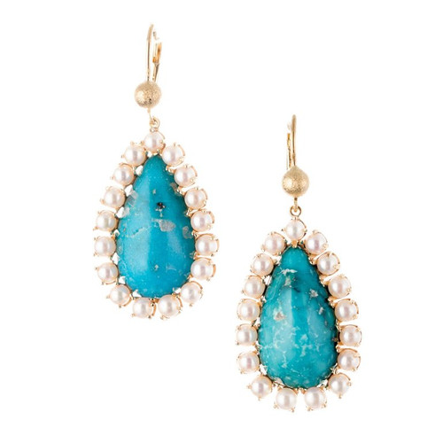 GIA Certified Natural Turquoise Pearl Halo Gold Dangle Earrings