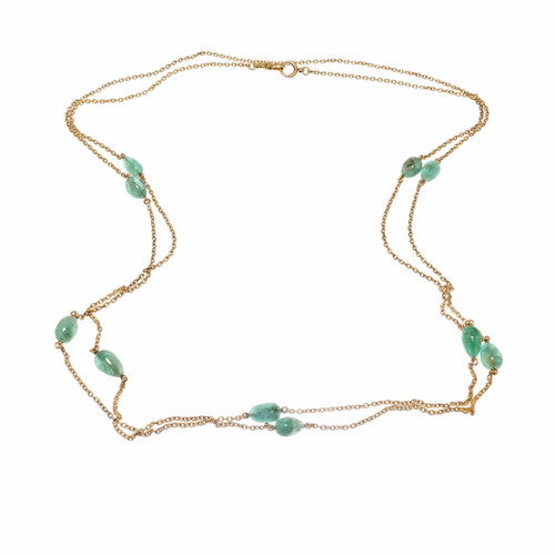 Victorian 58 Inch 50.00ct Emerald Long Chain Necklace