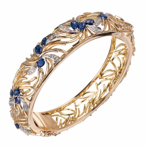 Sapphire Diamond Open Work Yellow Gold Bangle Bangle Bracelet