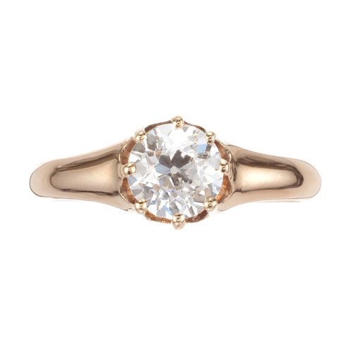 .85 Carat Diamond Yellow Gold Victorian Solitaire Engagement Ring