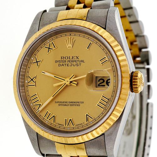 Rolex 18k Yellow Gold Steel Datejust 16233