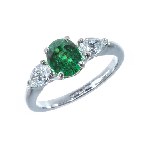 Peter Suchy 1.45 Carat Tsavorite Garnet Diamond Platinum Engagement Ring
