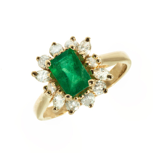 1.04 Carat Emerald Diamond Yellow Gold GIA Certified Cluster Ring