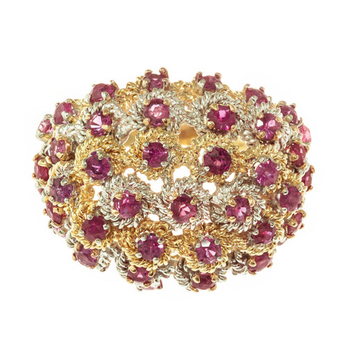 Mid-Century 1.70 Carat Ruby 18k Yellow White Gold Dome Ring