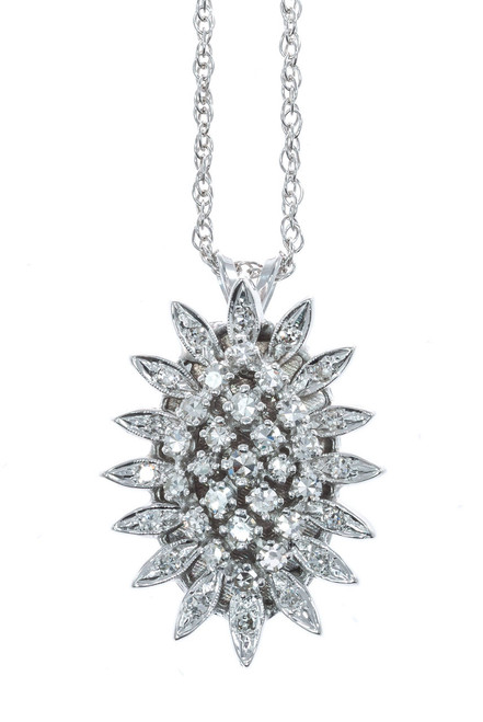 .62 Carat Diamond 14k White Gold Pendant Necklace