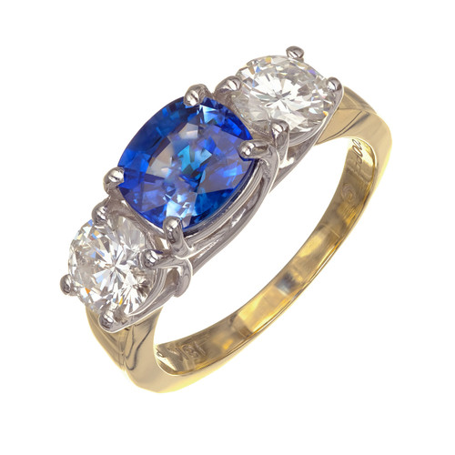 Jeff Cooper GIA Certified 3.33 Carat Sapphire Diamond Platinum Engagement Ring