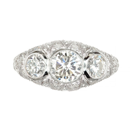 1.83 Carat Diamond Platinum Three Stone Engagement Ring