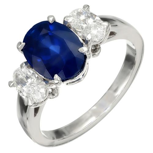 Peter Suchy 3.15 Carat Sapphire Diamond Platinum GIA Certified Engagement Ring