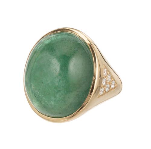 Peter Suchy 21.58 Carat Emerald Diamond Yellow Gold Cocktail Ring