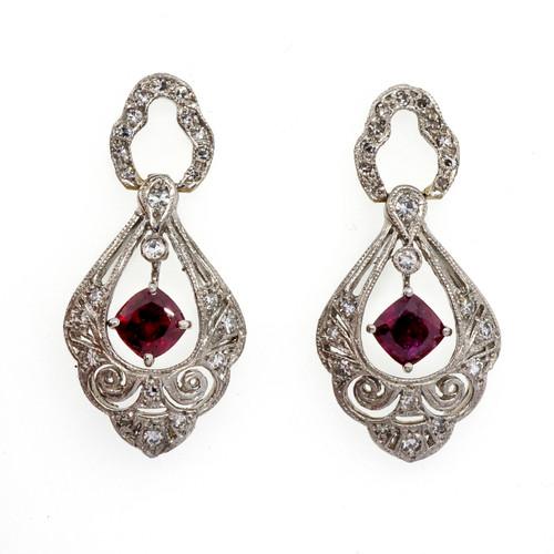 Art Deco Platinum Blood Red 1.45ct Ruby Dangle Earrings Single Cut Diamonds