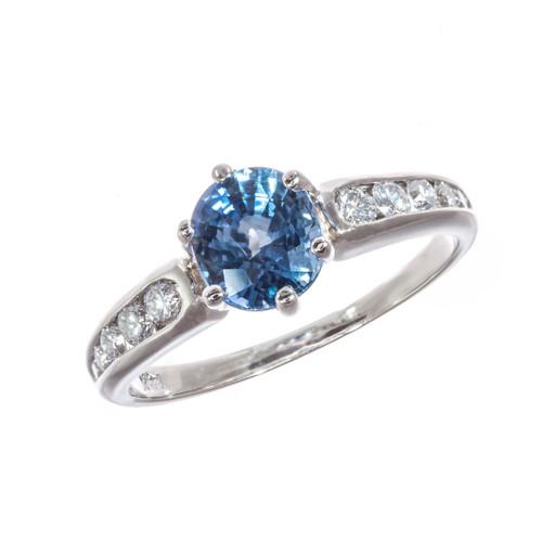1.54 Carat Sapphire Diamond 14k White Gold Ring