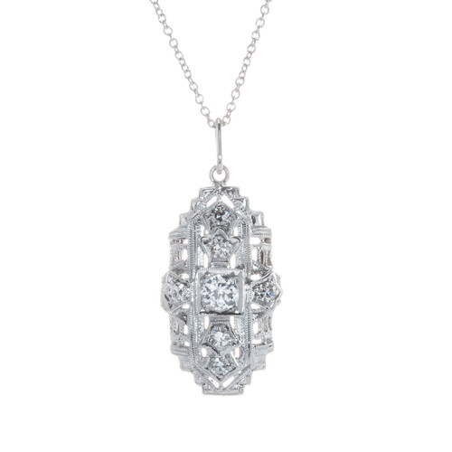 .33 Carat Diamond Platinum Art Deco Pendant