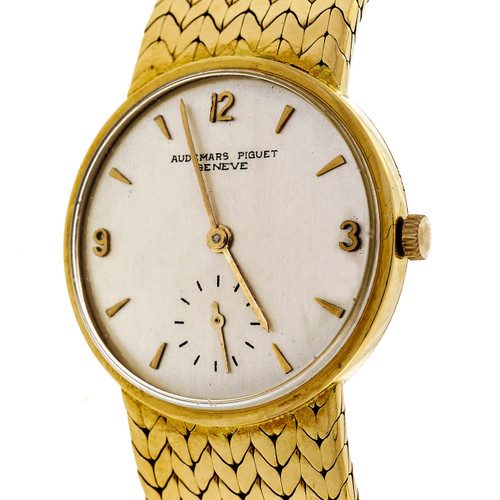1950 Solid Heavy Audemars Piguet 18k Gold Watch Mesh Band