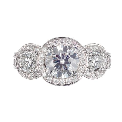 Peter Suchy GIA Certified 2.99 Carat Diamond Platinum Three Stone Ring