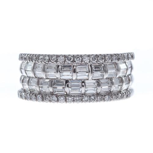 1.00 Carat Diamond 18 Karat White Gold Band Ring