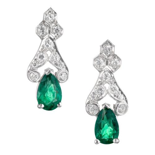 1.80 Carat Emerald Diamond Platinum Dangle Earrings