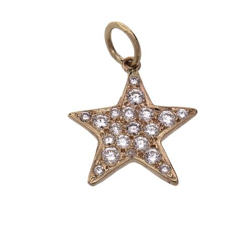 Diamond Pavé Star Pendant 14k Yellow Gold