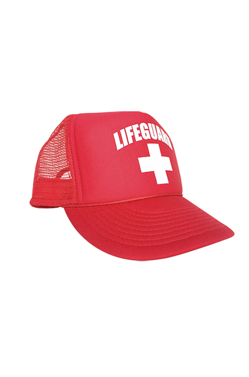 Red Mesh Trucker Hat - Beach Lifeguard 3f3b01c739f