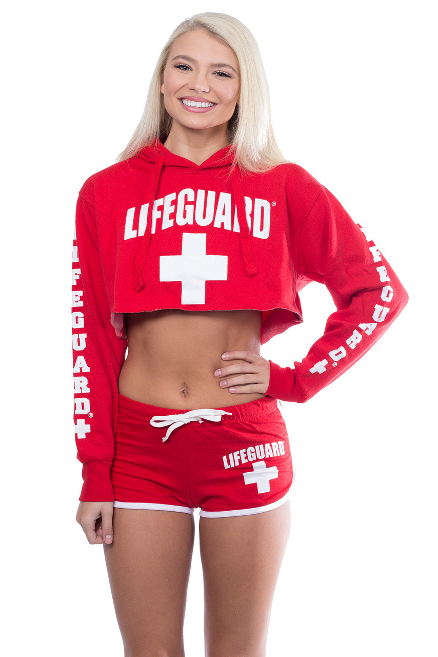 68abfaa6c22c Cropped Hoodie Sweatshirt - Beach Lifeguard