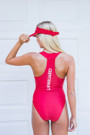 Ladies Zipper One Piece Lycra Swim Suit
