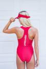 Ladies Zipper One Piece Lycra Swim Suit