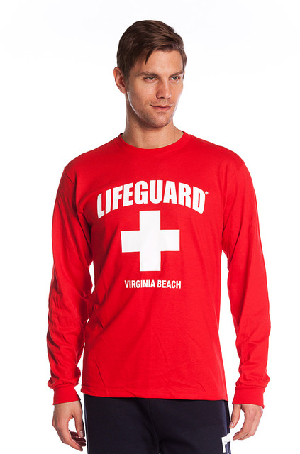 Red Guys Long Sleeved Shirt | Beach Lifeguard Apparel Online Store
