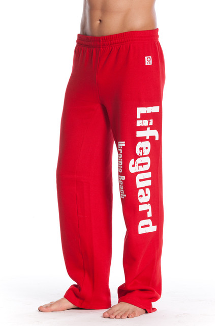 Front Red Fleece Sweatpants | Beach Lifeguard Apparel Online Store