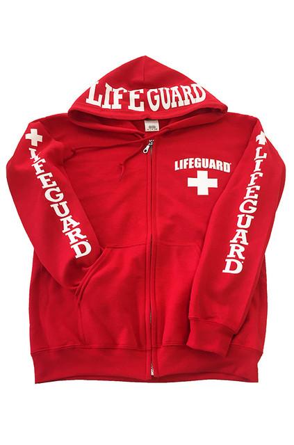 Red Full Zip Hoodie | Beach Lifeguard Apparel Online Store