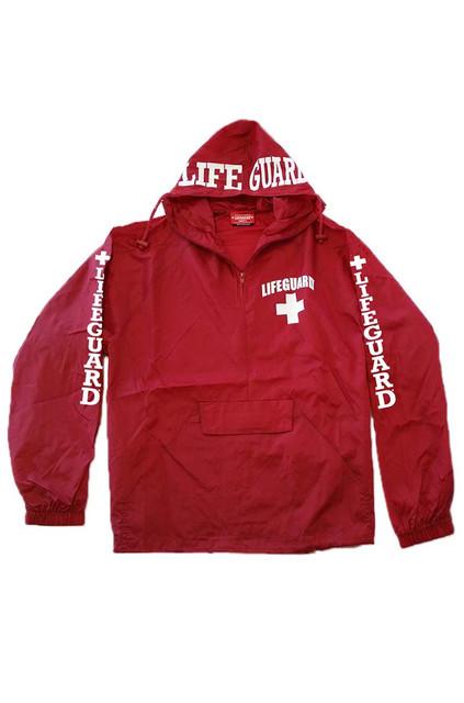 Red | Quarter-Zip Hooded Windbreaker | Beach Lifeguard Apparel Online Store