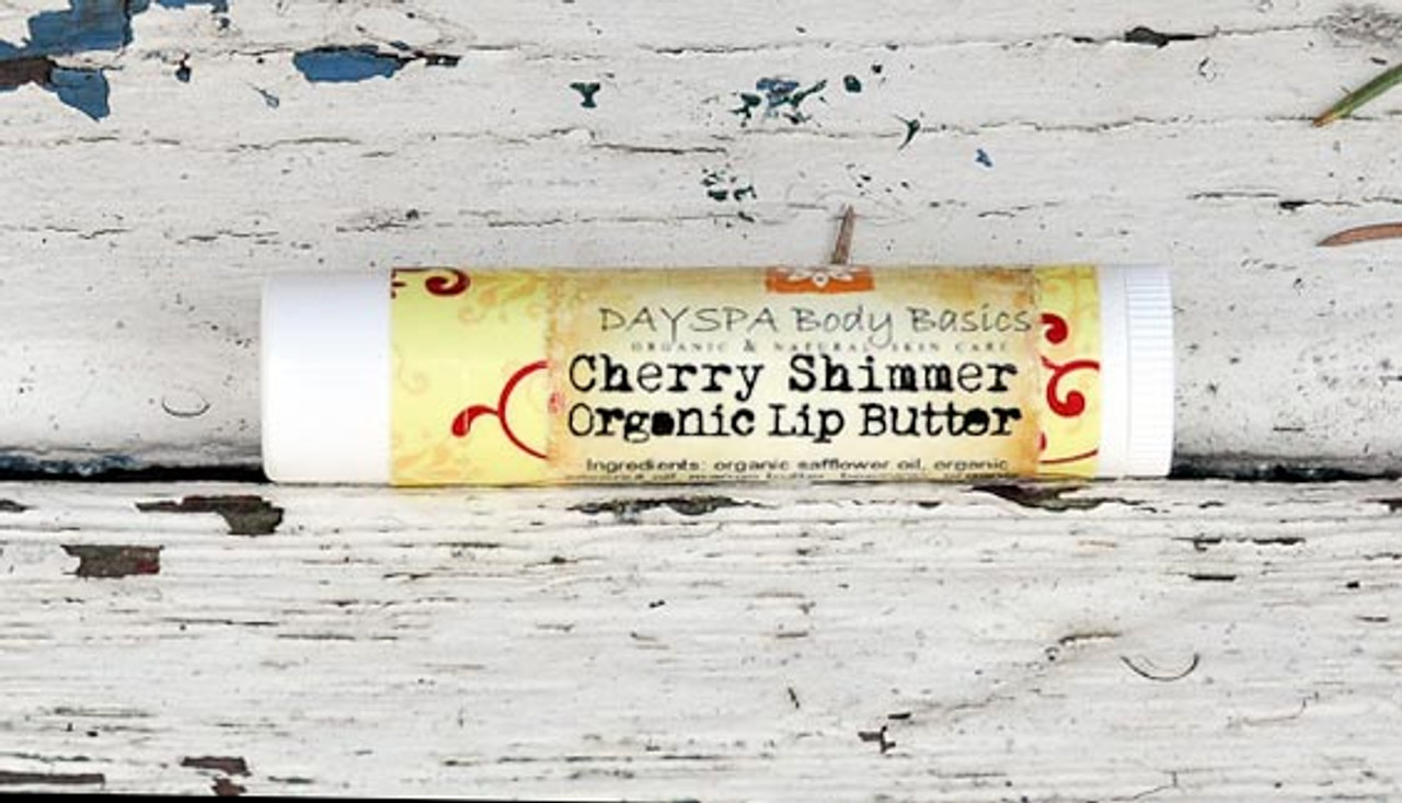 Cherry Shimmer Tinted Lip Butter - Best Chapstick for Dry Chapped Lips, Organic Cold Pressed Oils and Beeswax to Soothe and Protect, Non-Toxic, Cruelty Free, For Adults and Kids, 19 Flavors, Artisan Made in USA
