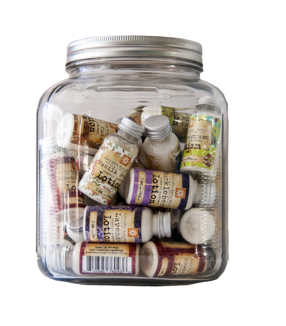 Old Fashioned Cracker Jar of 35 mixed variety (you pick) mini lotions. Great for wedding favors or point of sale.