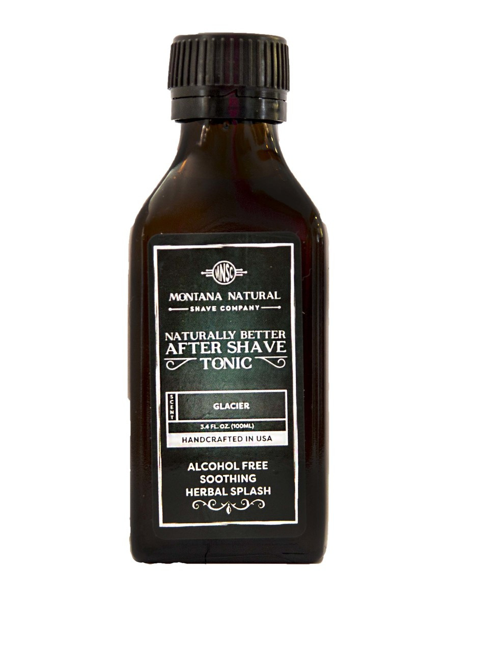 Glacier Old School Aftershave Tonic. Naturally Better  Alcohol Free Botanical Splash. Montana Natural Shave Company