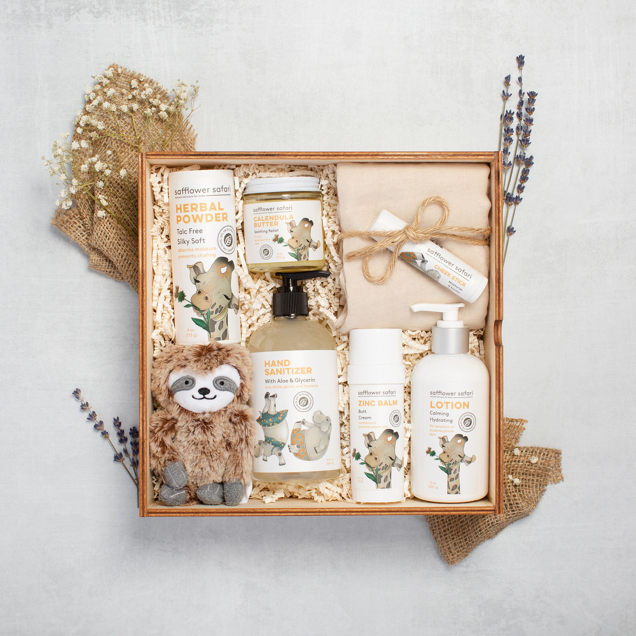 Curated Gift for Baby - New Parents - Luxury Gift Box for Baby - Safflower Saffari with Baby Sloth