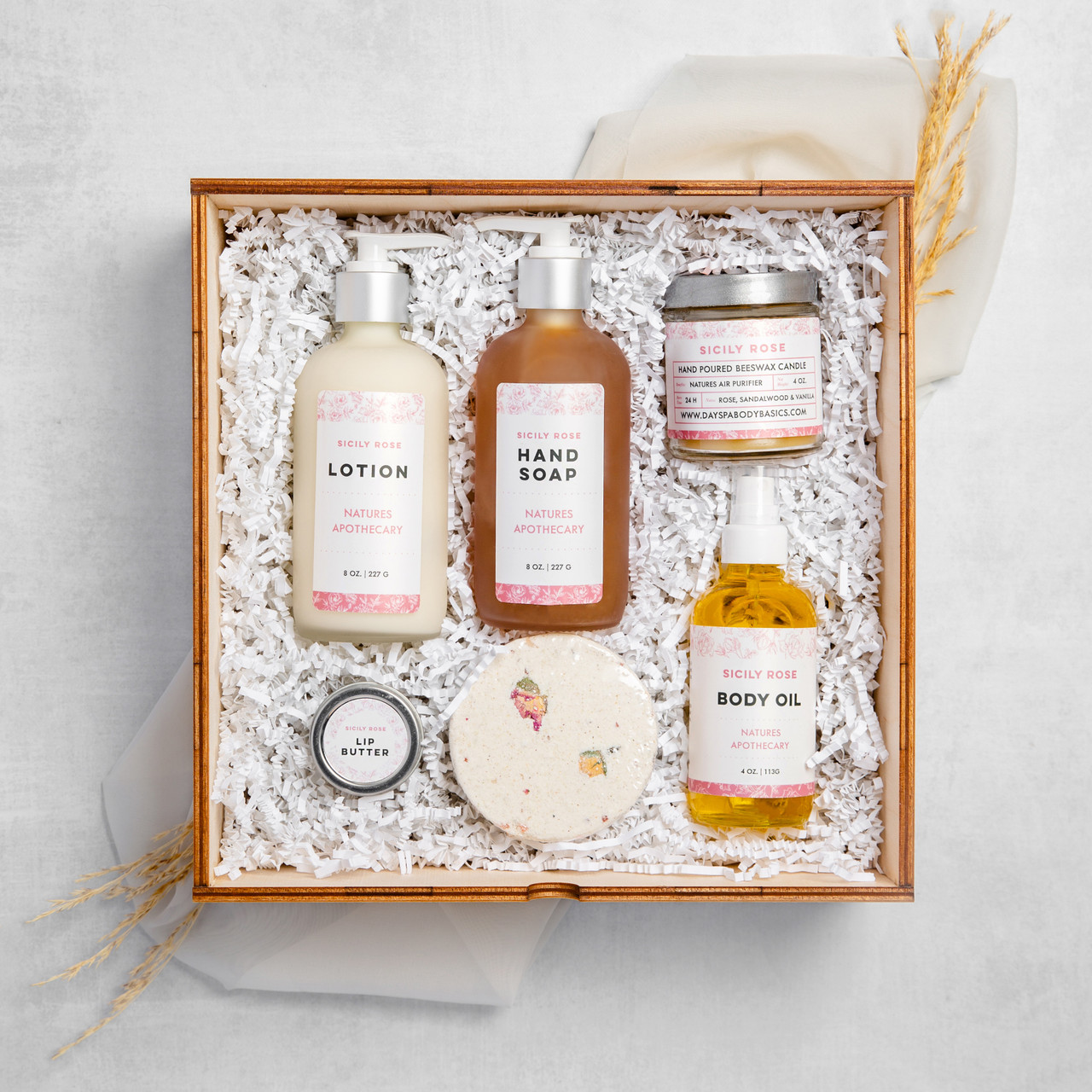 Sicily Rose -  The Gift of Luxury - Perfect House Warming Gift - Curated Gifts By DAYSPA Body Basicsdy Basics Gift Box Made in USA