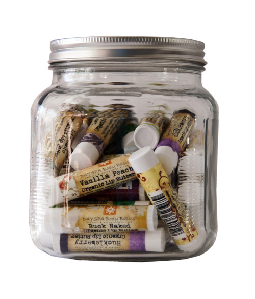 Point of Sale, Party, or Wedding Favor Jar of 35 Mix and Match Flavors, Best Chapstick for Dry Chapped Lips, Organic Cold Pressed Oils and Beeswax to Soothe and Protect, Non-Toxic, Cruelty Free, For Adults and Kids, 19 Flavors, Artisan Made in USA